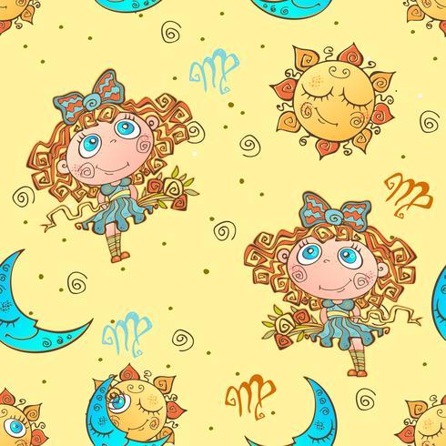 A fun seamless pattern for kids. Zodiac sign Virgo. Vector.