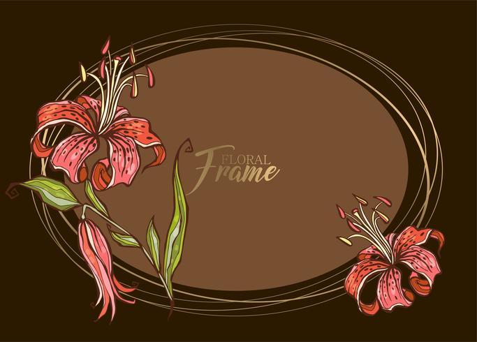 Elegante marco ovalado festivo con flor de lirio. Vector