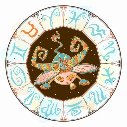 Zodiaco para niños. Tauro. Estilo lindo Vector. vector