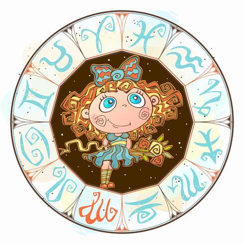 Horoscope pour enfants signe la Vierge dans le cercle du zodiaque. Vecteur