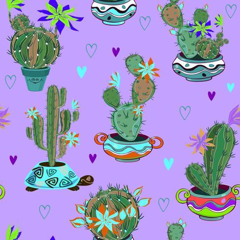 Bloeiende cactussen in grappige potten. Naadloos patroon. Vector.