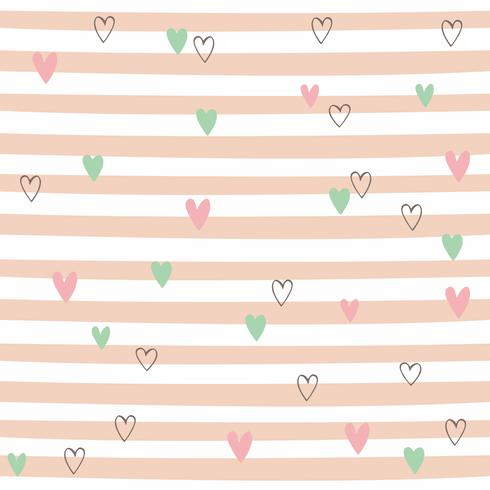Striped seamless pattern with hearts. Cute pattern with pink stripes. Vector