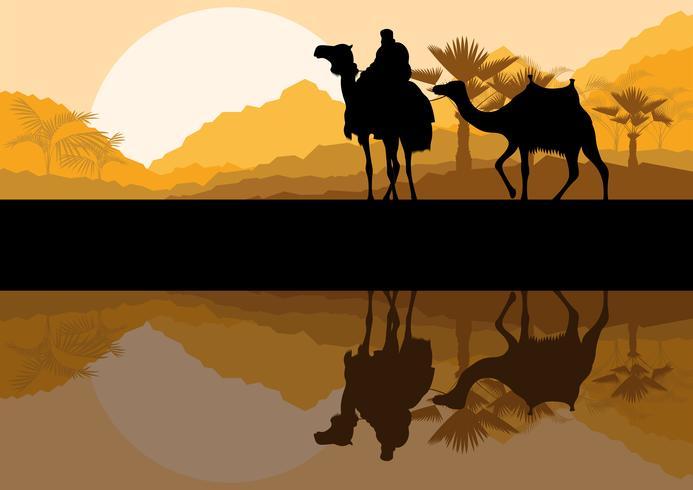 Afrikanische Wüste der Palme und der Tiernacht gestalten landschaftlich