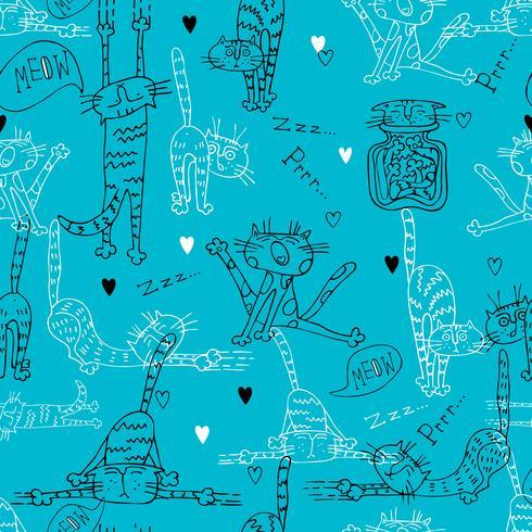 Patrón sin fisuras con la diversión Doodle gatos. Sobre un fondo turquesa. Vector