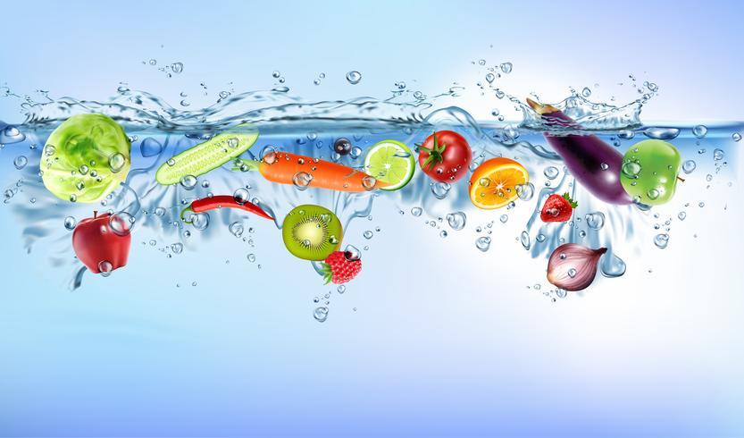 os legumes frescos que espirram no conceito saudável do frescor da dieta de alimento do respingo azul claro da água isolaram o fundo branco. Ilustração vetorial realista.