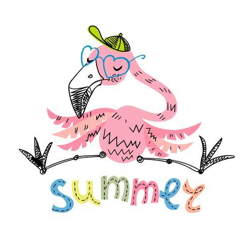 Lustiger Flamingo mit Gläsern und einer Kappe. Sommermotive. Vektor.