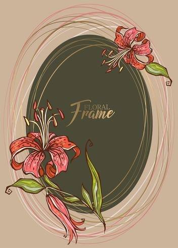 Festive elegant oval frame with flower Lily. Vector. vector