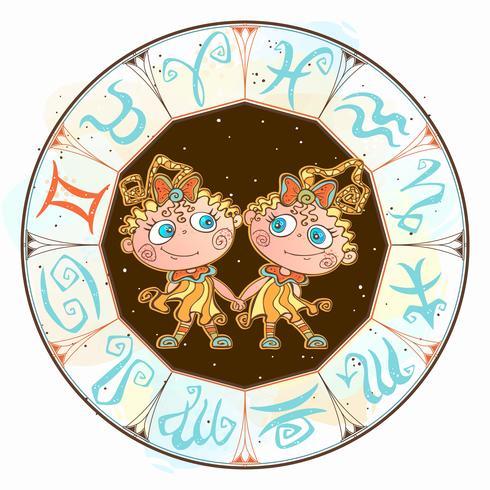 Horóscopo para niños muestra Géminis en el círculo zodiacal. Vector
