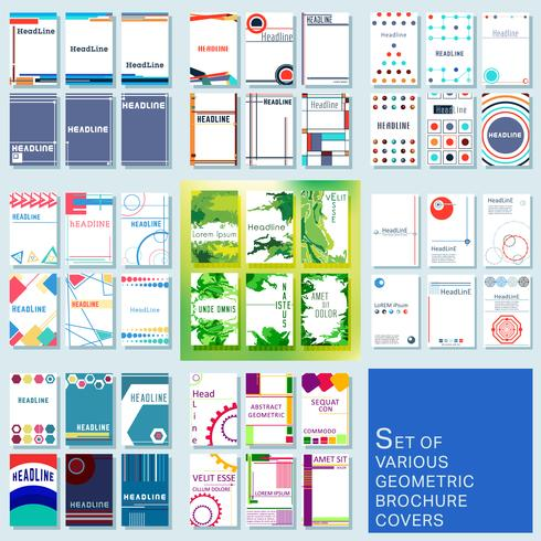 Set of trendy various geometric design covers brochure or flyer template vector