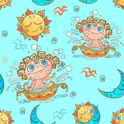 Un divertido patrón sin costuras para niños. Signo zodiacal de Acuario. Vector