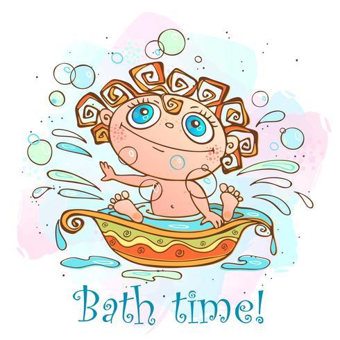 Il piccolo bambino è bagnato. Tempo di bagnare l'iscrizione. Vettore.