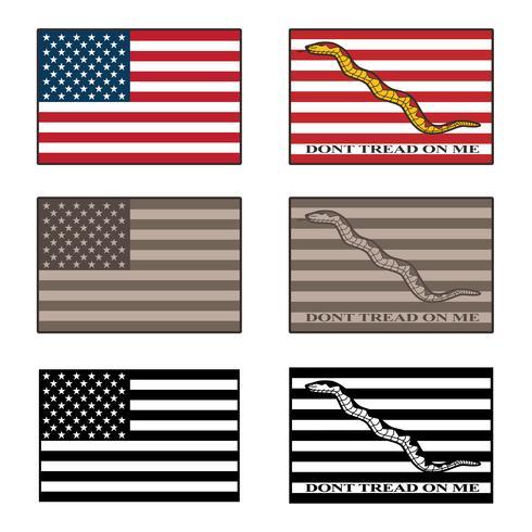 Estados Unidos y Dont Tread On Me, ilustración vectorial de una bandera a todo color, tonos de camuflaje del desierto y negro vector