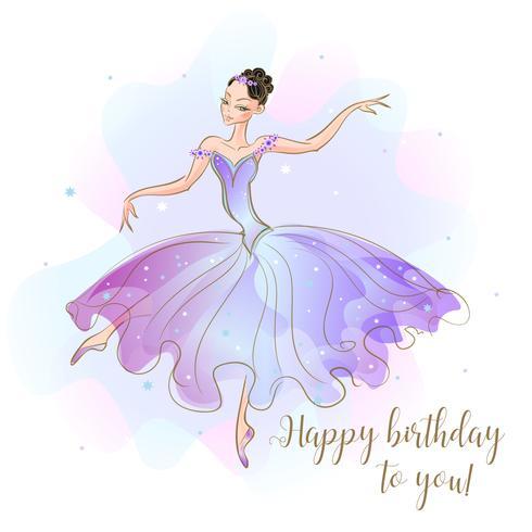 Card with a ballerina Princess. Congratulations on your birthday. Vector