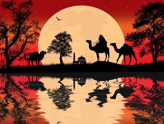 Desierto africano de palmera y animales paisaje nocturno.