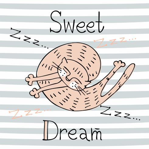 Sleeping cat. Sweet dream. Inscription. Cute style.