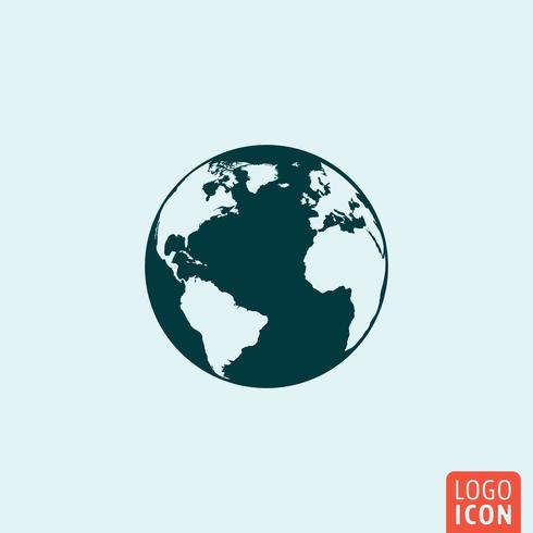 Earth planet icon mnimal ontwerp
