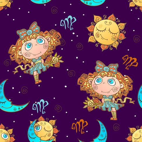 Un divertido patrón sin costuras para niños. Signo zodiacal de virgo. Vector. vector