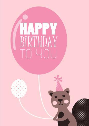 Cute birthday card chipmunk vector