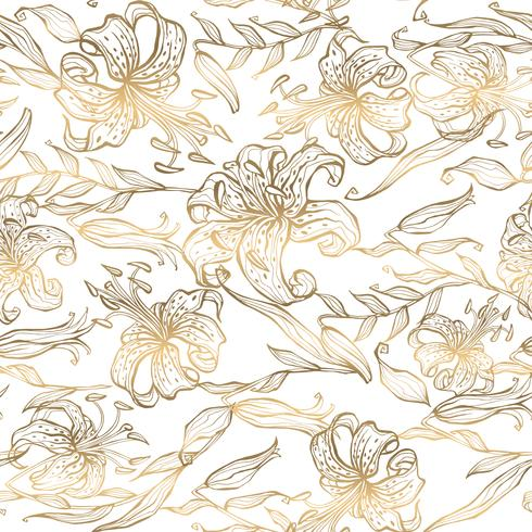 Seamless pattern.Gold lilies on white background. Vector. vector