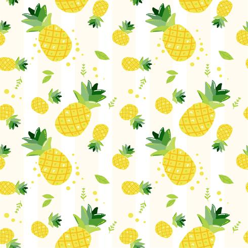 cute hand draw doodle  summer pineapple fruits pattern seamless background  vector