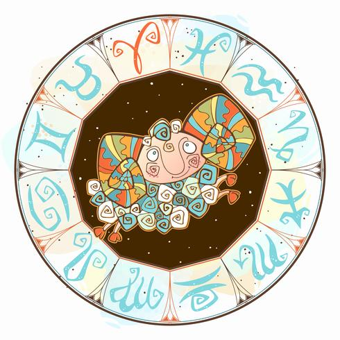Children s horoscope icon. Zodiac for kids. Aries sign . Vector. Astrological symbol as cartoon character vector