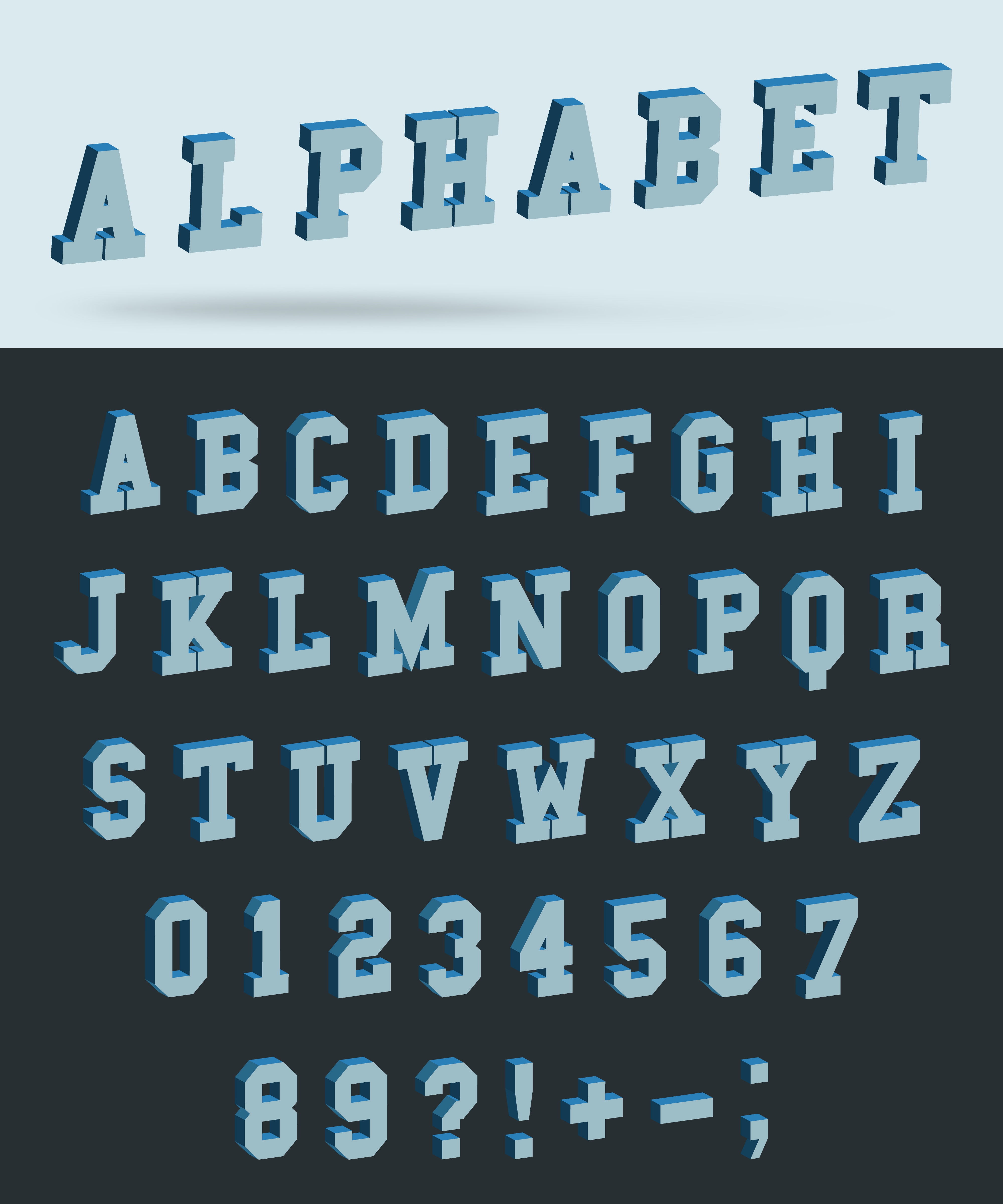 Isometric alphabet font with 3d effect letters and numbers ...