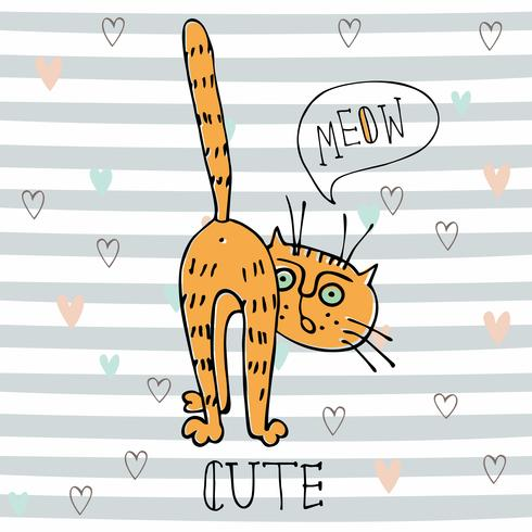 Red funny cat in cute style on striped background. Vector
