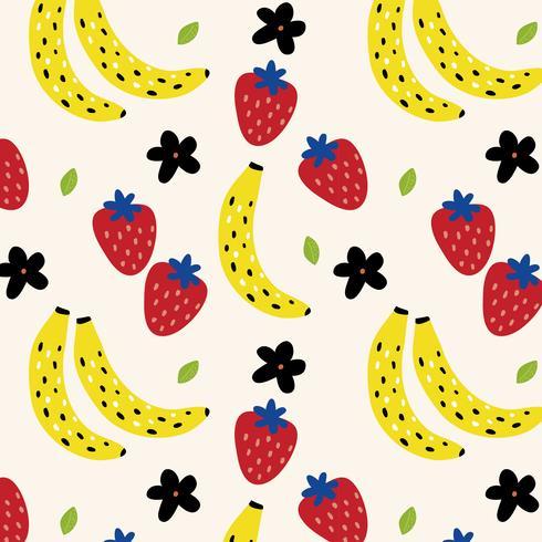 Patrón de verano con plátanos y fresas vector