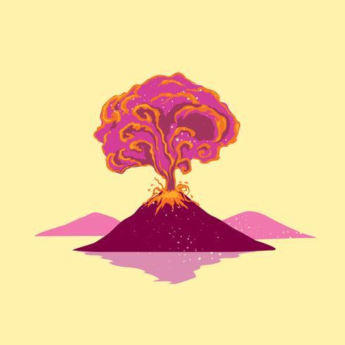 Erupção do vulcão na montanha