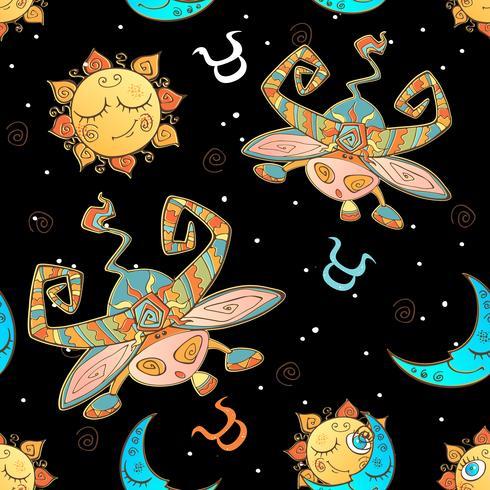Ein Spaß nahtlose Muster für Kinder. Sternzeichen Stier. Vektor.