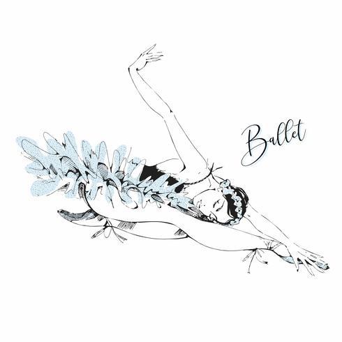 Ballet dancer white Swan. Swan lake. Vector.