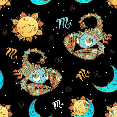 Un divertido patrón sin costuras para niños. Signo del zodiaco Escorpio. Vector.