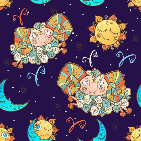 Un divertido patrón sin costuras para niños. Signo zodiacal de aries. Vector. vector
