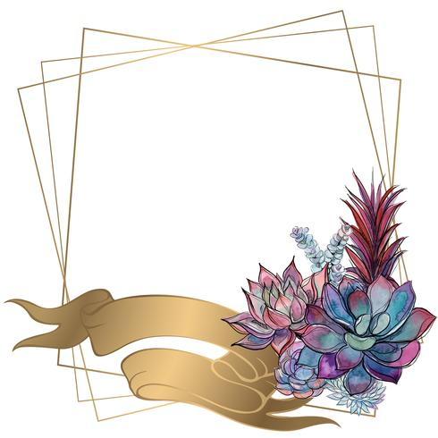 Gold frame with a bouquet of succulents. Vector. vector