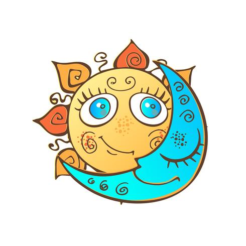 The sun and the moon in the children's cute style. Vector.