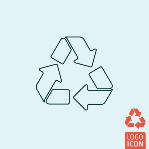 Icono de flechas de reciclaje diseño de línea mínima vector