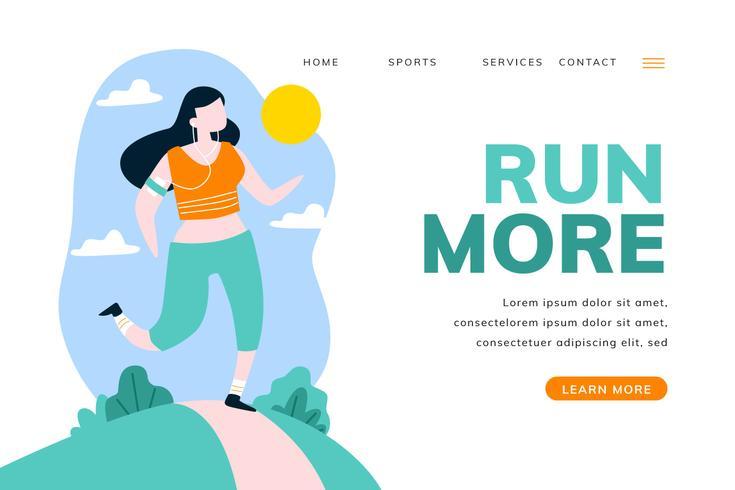Página de aterragem do esporte com mulher correndo na paisagem
