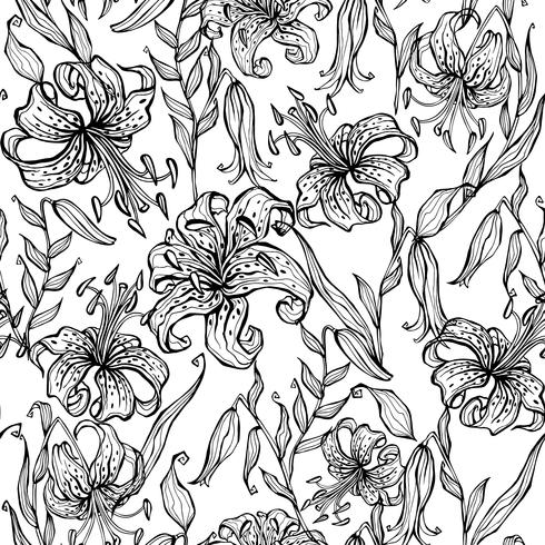 Black and white seamless pattern with lilies. Coloring. Vector
