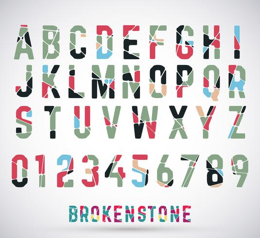 Alphabet broken font vector