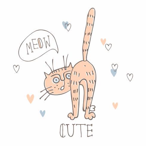 Gato engraçado em um estilo bonito. Doodles Ilustração em estilo cartoon.vector.