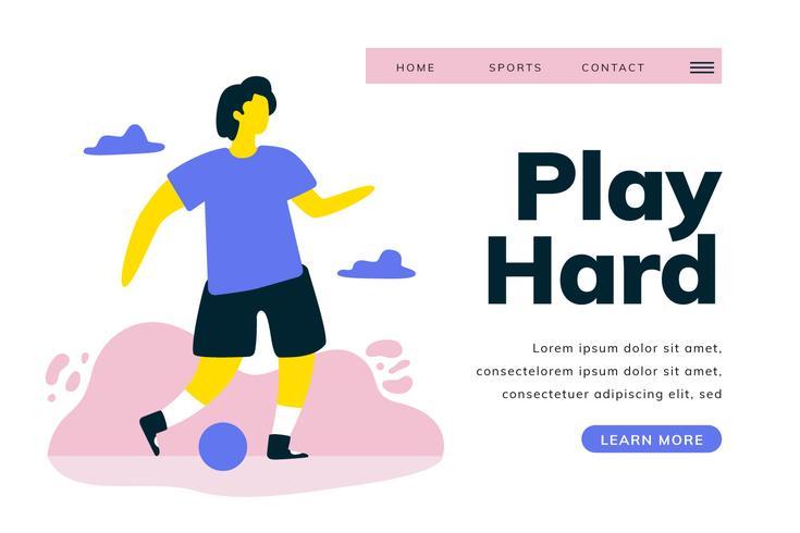 Página de aterrizaje de fútbol con jugador de fútbol en el paisaje vector