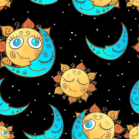 Seamless pattern with sun and moon for children . Vector