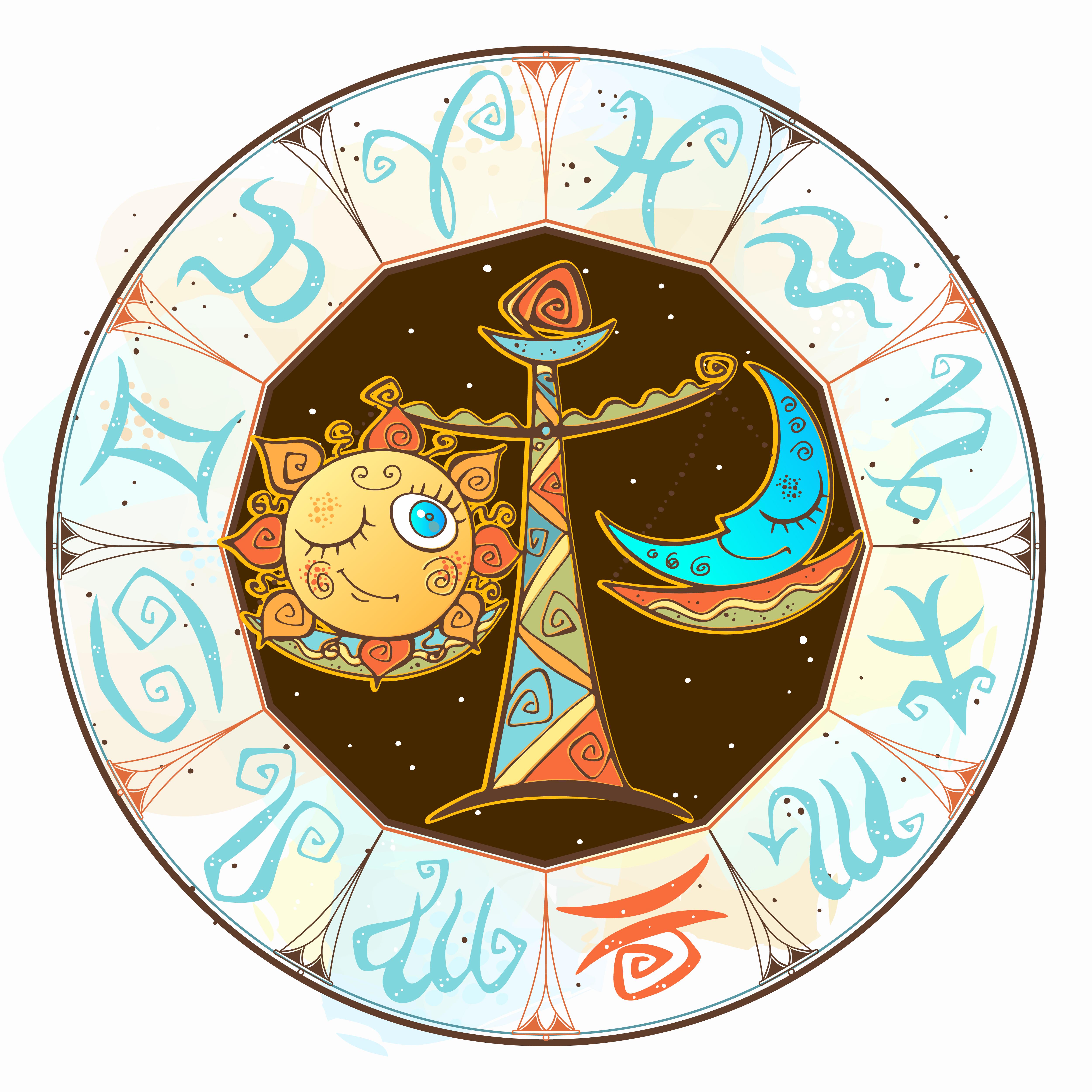 Children s horoscope icon. Zodiac for kids. Libra sign ...