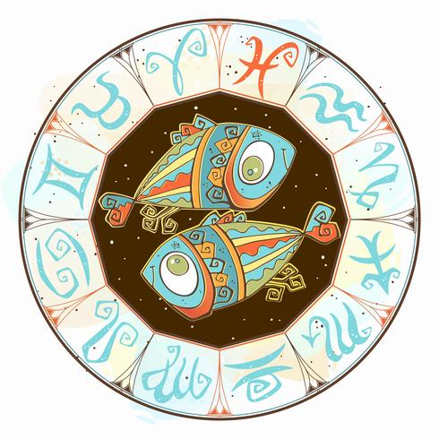 Horoscope for children sign Pisces in the zodiac circle. Vector