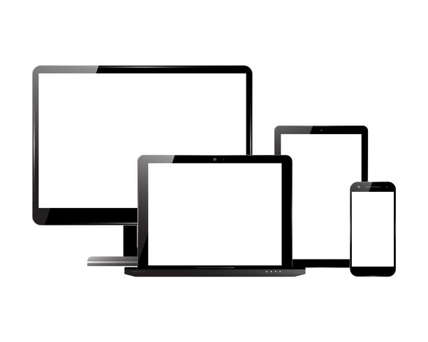 Monitor smartphone laptop tablet set vector