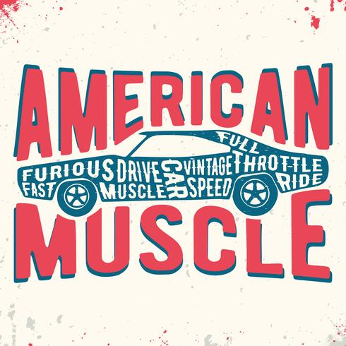 sello de la vendimia del coche del músculo vector