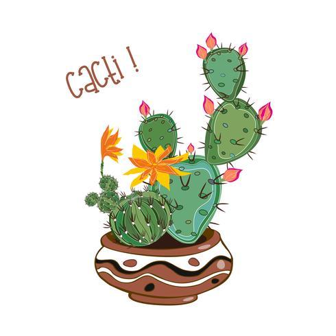 Cactussen in een kleipot. Cactussen in een pot. Vector illustratie.