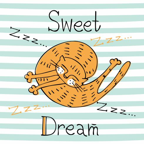 Sleeping red cat on a striped background. Nice style. Vector