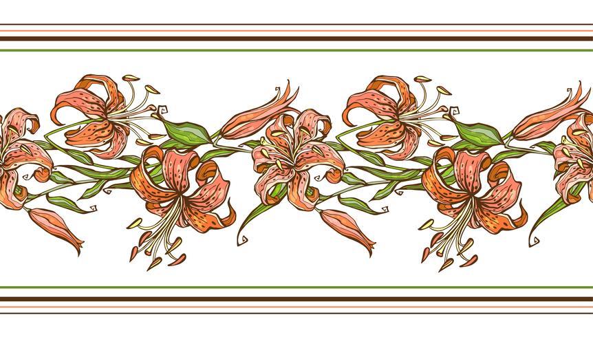 Tiger lily.Seamless pattern. Flower border. Vector illustration.