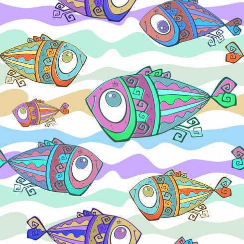 Decorative tropical fish. Seamless pattern. Underwater world. Vector. vector